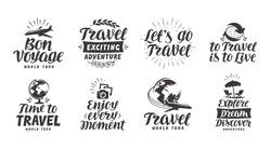 Travel, adventure set icons. Handwritten lettering. Label vector illustration