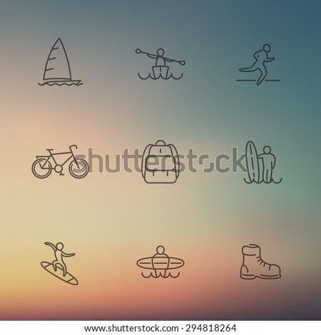 Travel, adventure, surfing, line icons on blur background, vector illustration, eps10, easy to edit