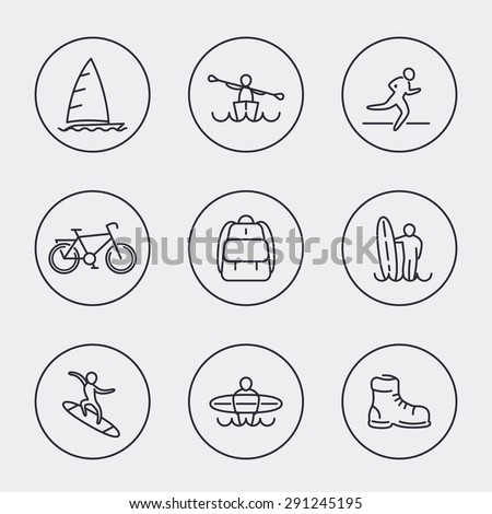Travel, adventure, surfing, line round icons, vector illustration, eps10, easy to edit