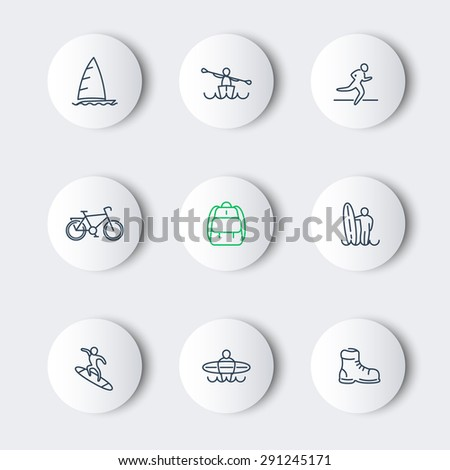 Travel, adventure, surfing, line round modern icons, vector illustration, eps10, easy to edit