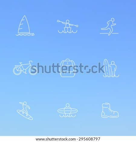 Travel, adventure, surfing, line white icons on blue, vector illustration, eps10, easy to edit