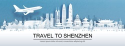 Travel advertising with travel to Shenzhen, China concept with panorama view of city skyline and world famous landmarks in paper cut style vector illustration.