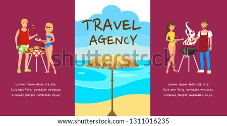 Travel agency banner cartoon vector design concept. Romantic couple rest. Outdoor activities. Lovers flat characters with hand drawn lettering. Beach picnic, barbecue. Summer holidays illustration
