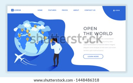 Travel agency isometric landing page template. Open new countries, world motto, slogan on tourist agency webpage. Cartoon man, traveler choosing locations, destinations on globe, continents map
