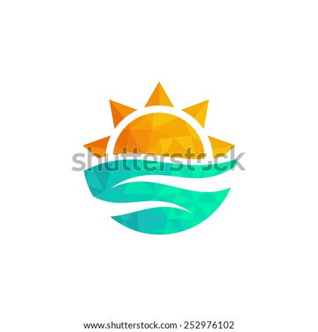 Travel agency logo. Triangle design  sun and sea. Summer yellow and orange sun and blue sea, travel logo.