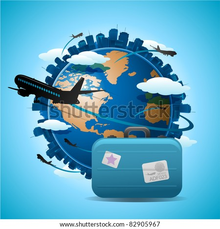 Travel airplane concept background, airplane flying around the globe