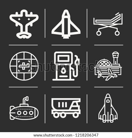 Travel, airport, submarine, truck, shuttle, space shuttle, stretcher, gas icon set suitable for info graphics, websites and print media and interfaces
