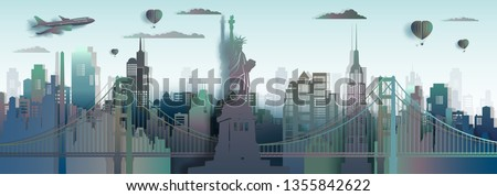 Travel America New York City Liberty statue landmark in Manhattan, Tourism USA famous landmarks skyscraper with downtown skyline,Architecture modern office, Vector gradient paper art and paper origami