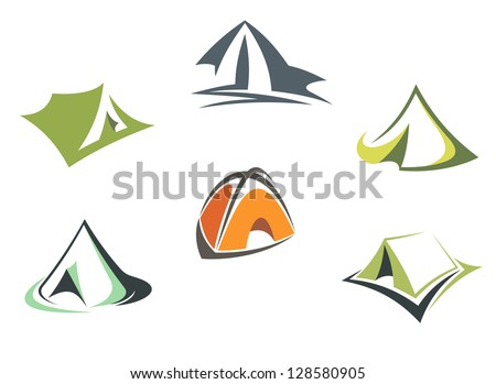 Travel and adventure camp tents set isolated on white background or logo template. Jpeg version also available in gallery