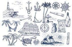 Travel and adventures hand drawn vector set. Hand drawn isolated sailing attributes: compass, sailing ship, message in a bottle, lighthouse, palm trees, coast, spyglass.