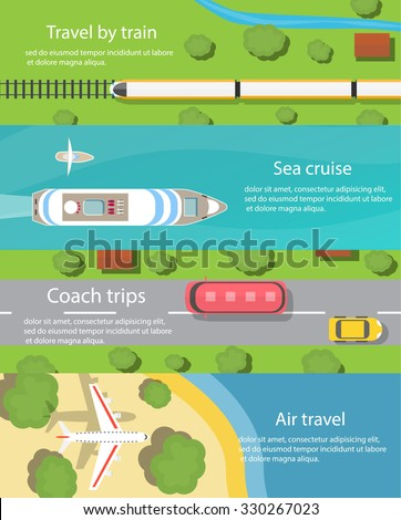 Travel and delivery horizontal banners set with ship, car, bus, plane, train,  top view. Transport and transportation, cargo and logistics, vector illustration