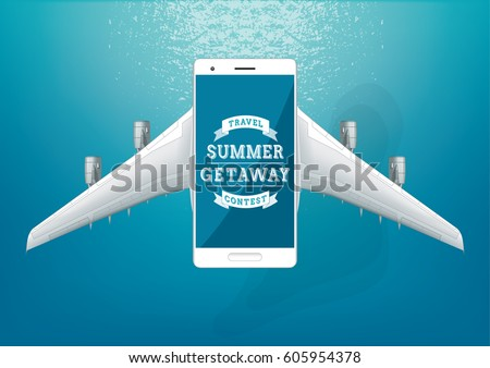 Travel and holiday - creative concept of mobile phone with airplane wing. Suitable for free flight or travel related contest and promotion. Vector illustration.