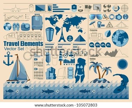 Travel and Holiday icons vector info graphics