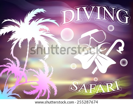 travel and leisure, palm, diving , vector illustration