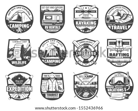 Travel and recreation, sport adventure isolated hobbies icons. Vector camping and tent, trucks on rent, kayaking and hiking. Wildlife adventures, lifeguard equipment and rafting, tourists expeditions