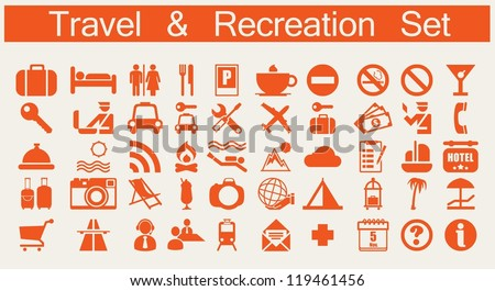 travel and recreation web icons, vector set,
