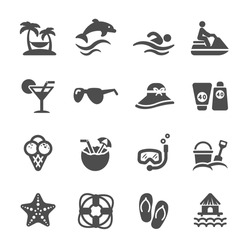 travel and summer beach icon set, vector eps10.