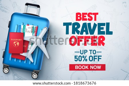 Travel and tour promo vector background template. Travel and tour special offer promo discount text with world's famous tourist landmarks patterned background. Vector illustration.
