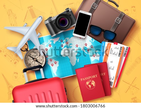 Travel and tour vector design. Travel and tourism elements with world map for location and destination, compass, passport, tickets, camera and luggage bag elements for adventure vacation. Vector illus Stock photo ©