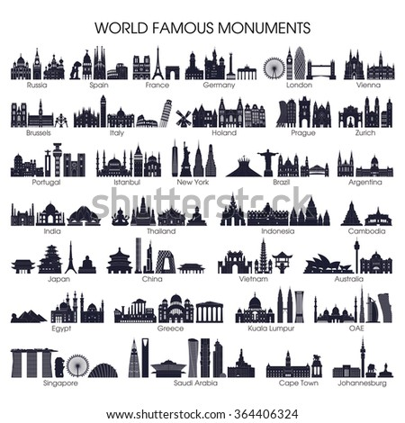 Shutterstock Travel and tourism background. Big set of world famous monuments. Vector illustration