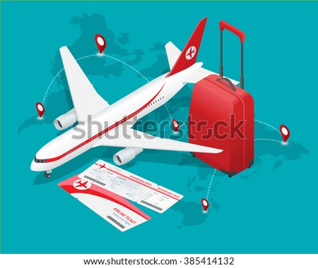 Travel and tourism background. Buying or booking online tickets. Travel, Business flights worldwide. Flat 3d isometric vector illustration.