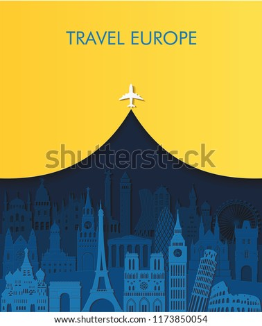 Travel and tourism background. Europe famous monuments skyline. Paris, London, Rome, Italy, Moscow, Istanbul, Prague, Vienna, Madrid famous monuments. Travel Europe. Vector illustration