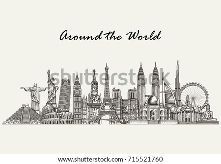 Travel and tourism background. Hand drawn world skyline.  Vector illustration of famous world monuments