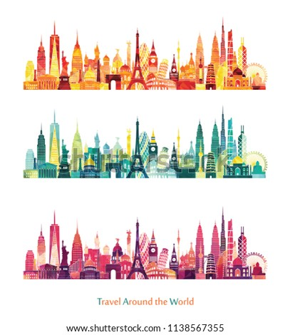 Travel and tourism background. London, Paris, Moscow, Rome, New York, Asia, Dubai, India, China, Thailand famous monuments. Vector illustration