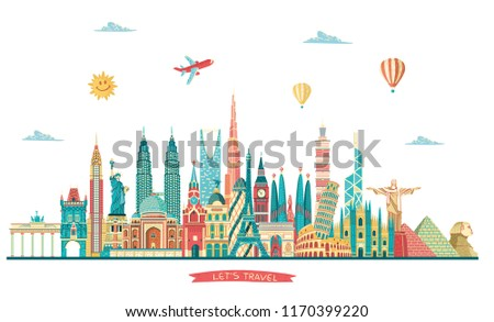 Travel and tourism background. World famous monuments. London, Paris, Moscow, Rome, New York, Asia, Dubai, India, China, Thailand famous monuments.  Vector illustration