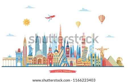 Travel and tourism background. World famous monuments skyline. London, Paris, Dubai, New York, India, Italy, Moscow, Barcelona monuments. Vector illustration