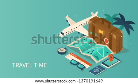 Travel and tourism booking concept template. Can use for web banner, infographics, hero images. Flat isometric vector illustration isolated on white background.