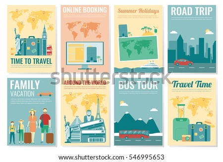 travel and tourism brochure set