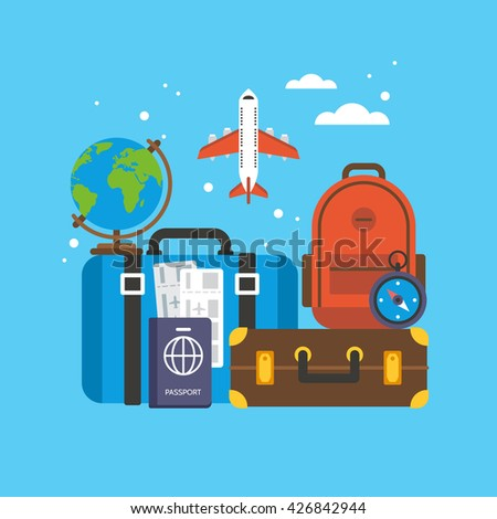 Travel and tourism concept. Baggage and luggage flight flat icons for web and graphic design