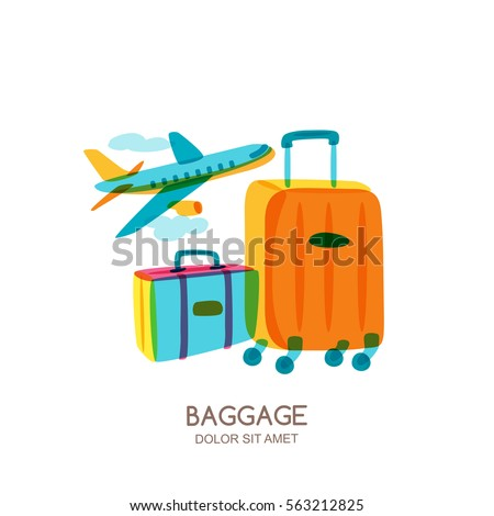 Travel and tourism concept. Multicolor luggage, suitcase, bag and flying plane. Vector doodle isolated illustration. Trendy flat design for summer vacation.