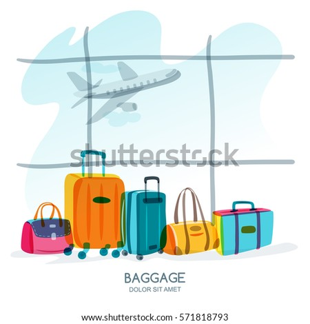 Travel and tourism concept. Multicolor luggage, suitcase, bag at the airport terminal window and flying plane. Vector doodle isolated illustration. Trendy flat design for summer vacation.