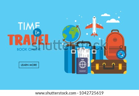 Travel and tourism concept with baggage, luggage, suitcase, passport and airplane tickets