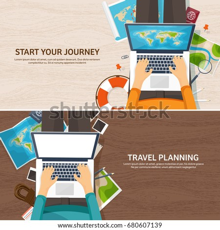 Travel and tourism. Flat style. World, earth map. Globe. Trip, tour, journey, summer holidays. Travelling,exploring worldwide. Adventure,expedition. Table, workplace. Traveler. Navigation.