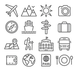 Travel and tourism icon set in trendy linear style