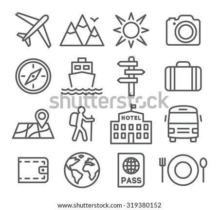 travel and tourism icon set in