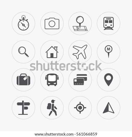 Travel and tourism icon set. Location, navigation, searching, transportation. Vector line icons in flat style