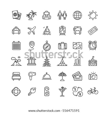 Travel and Tourism Icon Thin Line Set Pixel Perfect Art. Material Design for Web and App. Vector illustration