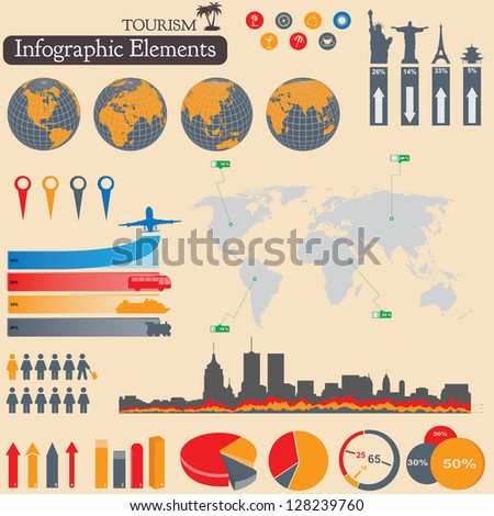 Travel and tourism Infographics set. Vector elements