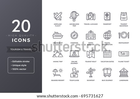 Travel and tourism line icons. Vacation and hotel icon set with editable stroke