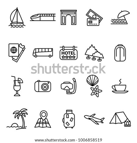 Travel and Tourism Signs Black Thin Line Icon Set Include of Hotel, Camera, Drink, Plane and Bus. Vector illustration