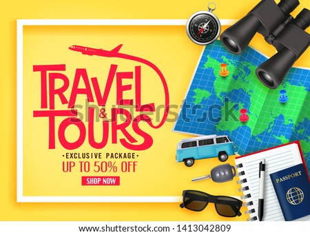 Travel and Tours Ads Banner Up To 50% Off Exclusive Package with Vector 3D Realistic Traveling Item Elements in Yellow Background. For Promotional Purposes