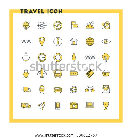 Travel and transportation flat design icon set. Map, compass, ship. train, bus, bicycle. Vector icons. Yellow and black colors