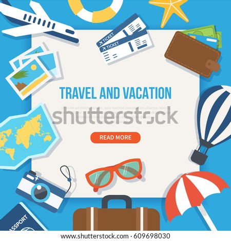Travel and vacation concept web banner. Vector illustration.