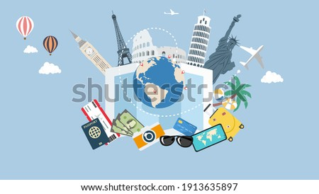 Travel and vacation concept with famous landmarks,