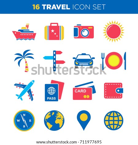travel and vacation icon set