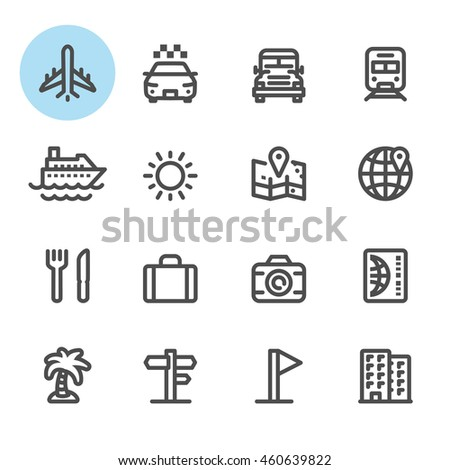 Travel and Vacation icons with White Background